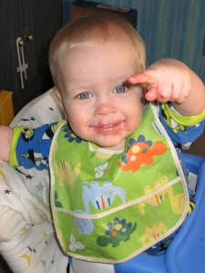 For Mother's Day, I did not have to clean off his sticky raspberry sauce face :) B did!
