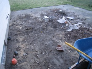 All the stuff found hiding under the deck...old toys and chair cushions, dirt, a dead rabbit, old wood, broken glass, YUCK!