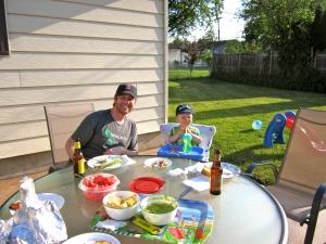 B and S enjoying dinner