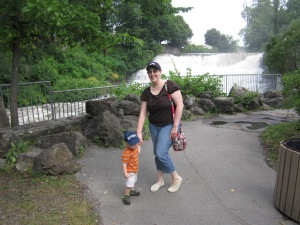 S and Mommy at the waterfall