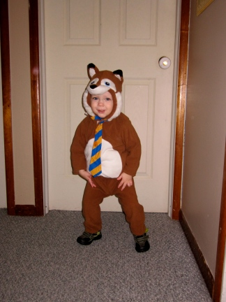 S was a fox. He loves wearing his costume, and he runs around excitedly while wearing it. Hopefully we can get a better photo on Thursday!