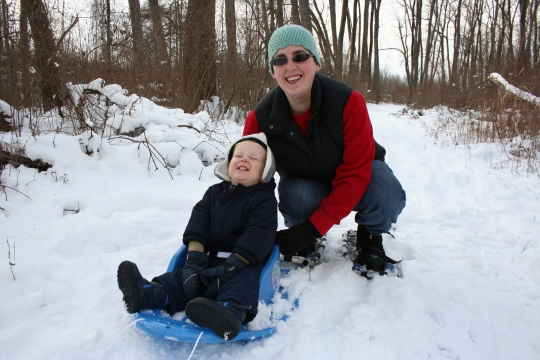 S and Me snowshoeing